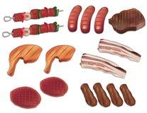 Ejemplo del vector de la parrilla y de la carne Foto de archivo libre de regalías