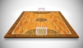 Ejemplo del vector de la perspectiva de la corte o del campo de Futsal de la madera dura Vector EPS 10 Sitio para la copia libre illustration