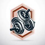 Ejemplo del vector de la pesa de gimnasia aislado en el blanco compuesto con el peso del disco Equipo de deporte para el levantam libre illustration