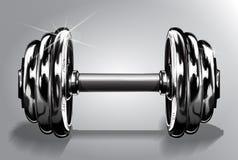 Ejemplo del vector de la pesa de gimnasia en blanco con el peso del disco Equipo de deporte para la elevación del poder y el entr Fotos de archivo libres de regalías