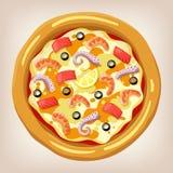 Ejemplo del vector de la pizza de los mariscos Fotos de archivo libres de regalías