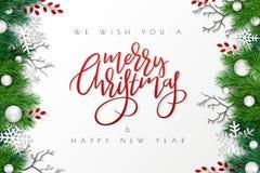 Ejemplo del vector de la plantilla de la bandera del saludo con la etiqueta de las letras de la mano - Feliz Navidad - con el abe ilustración del vector