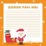 Ejemplo del vector de la plantilla de la letra de Papa Noel Foto de archivo