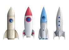 Ejemplo del vector de la plantilla de Rocket Symbol Icons Set Realistic Imagen de archivo
