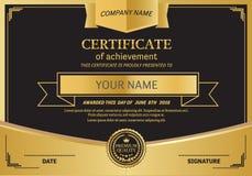 Ejemplo del vector de la plantilla del certificado del diploma Imagen de archivo