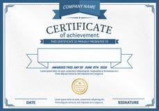 Ejemplo del vector de la plantilla del diploma del certificado Fotografía de archivo