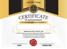 Ejemplo del vector de la plantilla del diploma del certificado Imagen de archivo libre de regalías