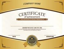 Ejemplo del vector de la plantilla del diploma del certificado Imagen de archivo