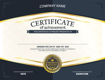 Ejemplo del vector de la plantilla del diploma del certificado Fotos de archivo