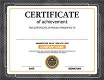 Ejemplo del vector de la plantilla del diploma del certificado Fotografía de archivo libre de regalías