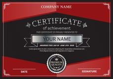 Ejemplo del vector de la plantilla del diploma del certificado Foto de archivo libre de regalías
