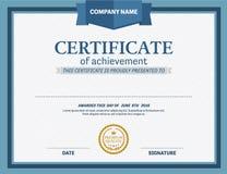 Ejemplo del vector de la plantilla del diploma del certificado Imágenes de archivo libres de regalías