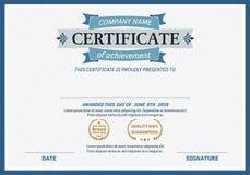 Ejemplo del vector de la plantilla del diploma del certificado Fotos de archivo libres de regalías