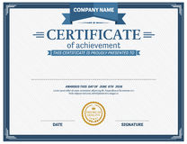Ejemplo del vector de la plantilla del diploma del certificado de Blue Ribbon Imagenes de archivo