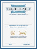 Ejemplo del vector de la plantilla del diploma del certificado de Blue Ribbon Fotografía de archivo