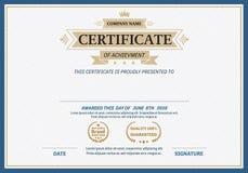 Ejemplo del vector de la plantilla del diploma del certificado de la cinta del oro Foto de archivo