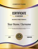 Ejemplo del vector de la plantilla del diploma del certificado del oro Imagen de archivo libre de regalías