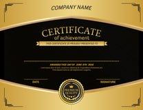 Ejemplo del vector de la plantilla del diploma del certificado del oro Fotografía de archivo