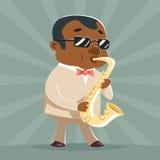 Ejemplo del vector de la plantilla del diseño de la historieta del icono del carácter de Jazz Afro American Artist Concept de la  Fotos de archivo libres de regalías