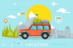 Ejemplo del vector de la plantilla de Forest City Flat Design Icon del coche del símbolo del viaje del turismo de las vacaciones  Imagen de archivo libre de regalías