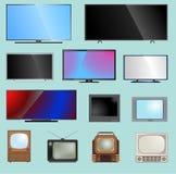 Ejemplo del vector de la plantilla del monitor LCD de la pantalla de la TV TV-pantalla del dispositivo electrónico infographic Di Imágenes de archivo libres de regalías