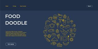 Ejemplo del vector de la plantilla de la página del aterrizaje de la web del garabato de Junk Food stock de ilustración