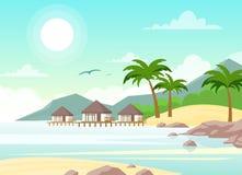 Ejemplo del vector de la playa hermosa con los chalets Palmeras tropicales, hotel en la playa del océano en estilo plano libre illustration