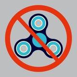 Ejemplo del vector de la prohibición del hilandero de la persona agitada Ninguna muestra no permitida del hilandero o del hilande Foto de archivo libre de regalías