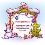 Ejemplo del vector de la puerta de la Navidad con el muñeco de nieve Imagen de archivo libre de regalías