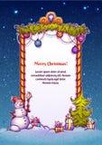 Ejemplo del vector de la puerta de la Navidad con el muñeco de nieve Imágenes de archivo libres de regalías