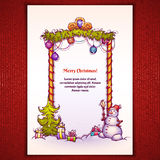 Ejemplo del vector de la puerta de la Navidad con el muñeco de nieve Foto de archivo libre de regalías