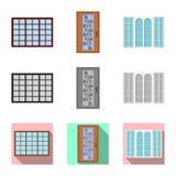 Ejemplo del vector de la puerta y del icono delantero Colección de puerta e icono de madera del vector para la acción ilustración del vector