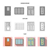 Ejemplo del vector de la puerta y del icono delantero Colecci?n de puerta y de ejemplo com?n de madera del vector libre illustration