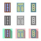Ejemplo del vector de la puerta y del icono delantero Sistema de la puerta y del símbolo común de madera para el web stock de ilustración