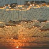 Ejemplo del vector de la puesta del sol con las nubes ilustración del vector