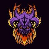 Ejemplo del vector de la quemadura del fuego del monstruo del cráneo stock de ilustración