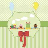 Ejemplo del vector de la tarjeta de la fiesta de bienvenida al beb? imagen de archivo libre de regalías