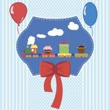 Ejemplo del vector de la tarjeta de la fiesta de bienvenida al beb? foto de archivo