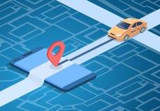 Ejemplo del vector de la tecnología del servicio online del taxi ilustración del vector