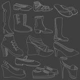 Ejemplo del vector de la tiza de los zapatos stock de ilustración