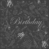 Ejemplo del vector de la tiza del cumpleaños Foto de archivo libre de regalías