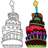 Ejemplo del vector de la torta de cumpleaños Fotos de archivo libres de regalías