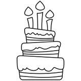 Ejemplo del vector de la torta de cumpleaños Imagen de archivo libre de regalías