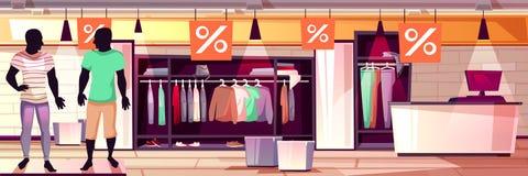 Ejemplo del vector de la venta del boutique de la ropa de caballero de la moda stock de ilustración