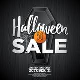 Ejemplo del vector de la venta de Halloween con el ataúd y elementos del día de fiesta en fondo anaranjado Diseñe para la oferta, Fotos de archivo libres de regalías