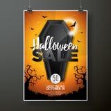 Ejemplo del vector de la venta de Halloween con el ataúd y elementos del día de fiesta en fondo anaranjado Diseño para la oferta, Fotografía de archivo libre de regalías