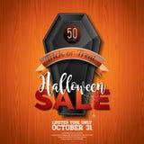 Ejemplo del vector de la venta de Halloween con el ataúd y elementos del día de fiesta en el fondo de madera de la textura Diseño Imagenes de archivo