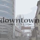Ejemplo del vector de la vida de ciudad en perspectiva Stock de ilustración