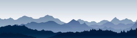Ejemplo del vector de la visión panorámica hermosa Montañas en niebla con el bosque, fondo de la montaña de la mañana, paisaje stock de ilustración