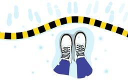 Ejemplo del vector de la vista superior de las piernas femeninas, botas en la nieve, raya, huellas libre illustration